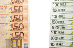100 euro and 50 euro note Stock Image