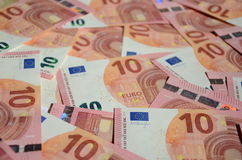 Euro. Pean 10  banknote background stock images