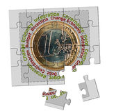Euro, eurozone problem, puzzle - concept Stock Images