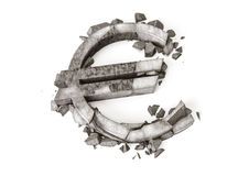 Euro exchange rate down. 3D rendering of destroyed stone ruble symbol on a white background. Euro sign made of stone broken on the floor Stock Photography