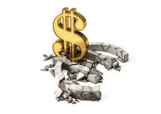 Euro exchange rate down. Gold dollar sign destroy concrete Euro symbol. Royalty Free Stock Photo