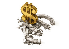 Euro exchange rate down. Gold dollar sign destroy concrete Euro symbol. Royalty Free Stock Photos