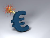 Euro exploding. It's a Euro symbol that will explode, a picture of the market financial risk stock illustration