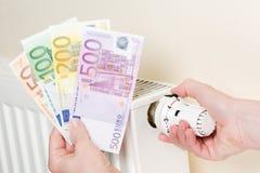 euro expositions d'argent de chauffage de main d'explosion de coûts Photo libre de droits
