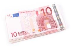 euro för 10 sedlar Arkivfoton