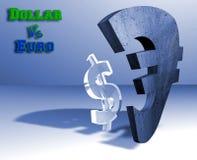 euro för begreppsvalutadollar Fotografering för Bildbyråer