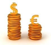 euro för fördelsvalutadollar över oss Royaltyfri Fotografi