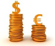 euro för fördelsvalutadollar över oss Fotografering för Bildbyråer