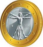 Euro för guld- mynt ett för pengar för vektor italienskt (den Vitruvian mannen) Royaltyfri Fotografi