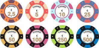 Euro för illustration för vektor för kasinochiper fastställt royaltyfri illustrationer
