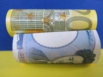 Euro för japansk yen kontra Arkivbild