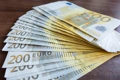 euro för 200 sedlar Arkivfoton