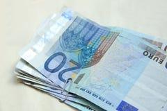 euro för 20 sedlar Fotografering för Bildbyråer