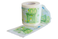 Euro för sedlar som 100 skrivs ut på rullen för toalettpapper Arkivbilder