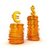 euro för valutadollardominancy över oss Royaltyfria Bilder