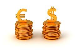 euro för valutadollarlikställande oss Arkivfoton