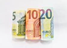 Euro fünf, zehn und zwanzig Stockbilder