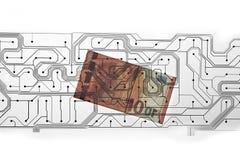 Euro facture et carte PCB Image libre de droits