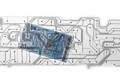 Euro facture et carte PCB Photographie stock