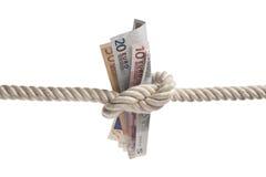 Euro factures attachées avec la corde Photo libre de droits