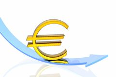 Euro fall. Isolated over white background Royalty Free Stock Photo
