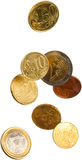 Euro falling. European currency coins falling isolated Stock Image