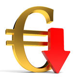 Euro falls. Arrow Stock Image