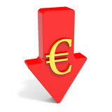 Euro falls. Arrow Royalty Free Stock Photos