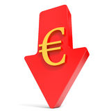 Euro falls. Arrow Stock Photos