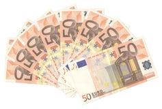 euro fan pięćdziesiąt Obrazy Royalty Free