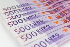 500 euro fatture di soldi, contanti di moneta europea Immagini Stock Libere da Diritti