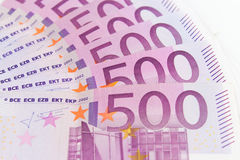 500 euro fatture di soldi, contanti di moneta europea Fotografie Stock