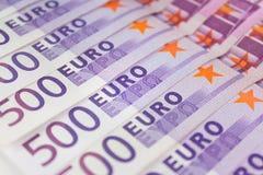 500 euro fatture di soldi, contanti di moneta europea Immagine Stock