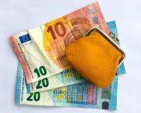Euro fatture e borsa Immagine Stock