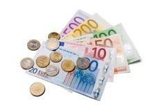 Euro fatture e monete Fotografie Stock Libere da Diritti