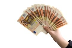 50 euro in female hand on white background royalty free stock images