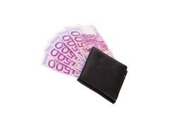 Euro femhundra i handväska Arkivfoton