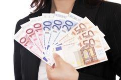 euro femme d'argent de fixation Images libres de droits