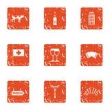 Euro field icons set, grunge style. Euro field icons set. Grunge set of 9 euro field vector icons for web isolated on white background Stock Photo