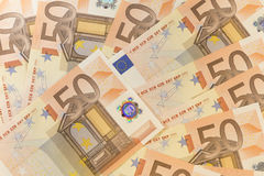 Euro fifty background. Money paper business banknote Stock Photos