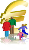 Euro figures. Family in front of a euro sign, all in 3d Stock Image