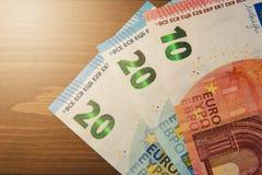Euro fin d'argent avec l'endroit pour le texte Euro billets de banque d'argent dessus Image stock