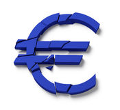 Euro Finance Crisis. Euro Sign Broken. Concept for Europe Money Crisis stock illustration