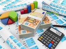 Euro finances. Concept: calculator, euros and charts Stock Photography