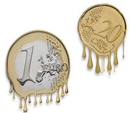 Euro financial crisis. One Euro Coin and twenty Euro Cent Coin Melted - Simbolyzing Euro Currency Crisis Royalty Free Stock Photo