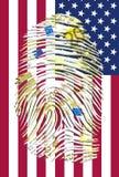 Euro Fingerprint and American Flag. Euro Fingerprint and American Banner Stock Image