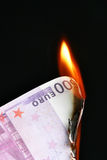 Euro on fire Royalty Free Stock Photos