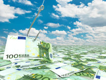 Euro and fish-hook on cloudscape. Financial concept.. 3d Royalty Free Stock Photos