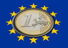 Euro Flag. Europe Flag with one euro coin inside Stock Images