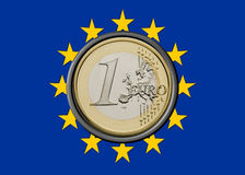 Euro Flag. Europe Flag with one euro coin inside Royalty Free Stock Photography